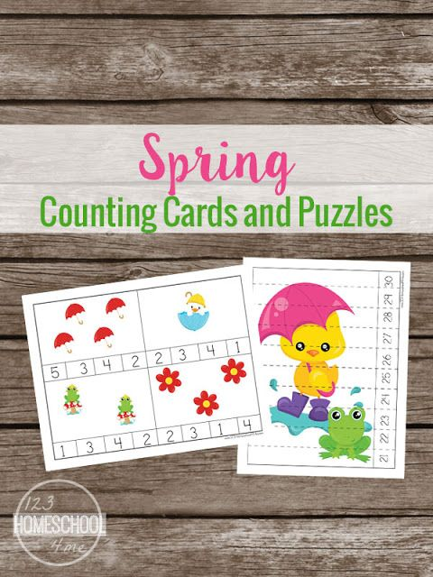 FREE Spring Counting Cards and Puzzles - these are great for Preschool, Prek, and Kindergarten age kids to practice counting to 10, 20, 30 and skip counting by 2s.