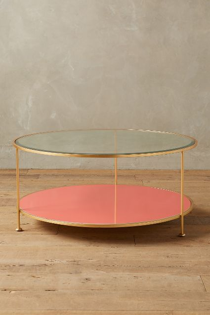 Lacquered Table - anthropologie.com #anthrofave #colorfurniture coral round coffee table brass
