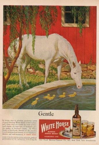 1947 White Horse Blended Scotch Whisky Ad John Clymer Art