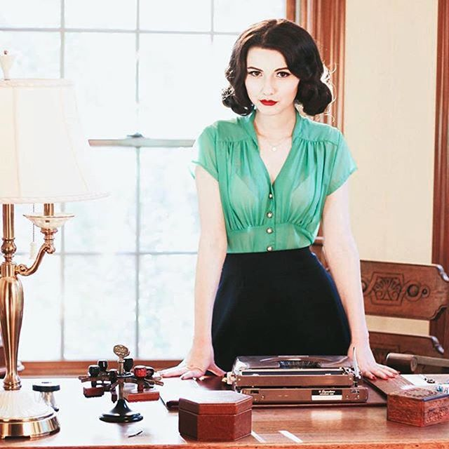 (@madisonsteward)  Another day at the office, ready to kick butt in the Steady Retro 1940s Mint Chiffon Harlow Cap Sleeve Button Top.