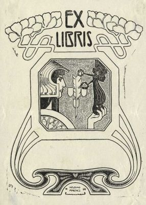 Bookplate by Frenec Helbing for anon., 1899: