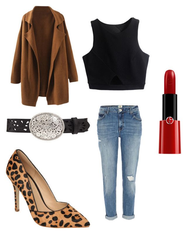 """Hyuna - Red"" by clemerina ❤ liked on Polyvore featuring River Island, Jane Norman, Armani Beauty and Tony Lama"