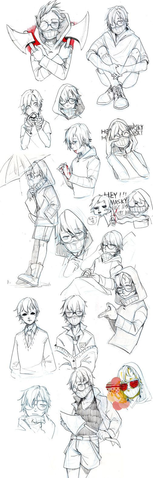 sketches of ticci toby by Dr-Influenza.deviantart.com on @DeviantArt
