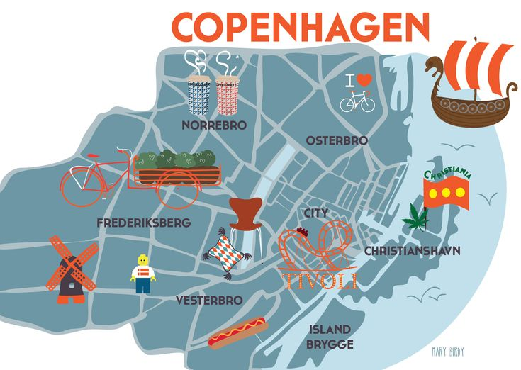 Copenhagen Map par Mary Birdy Copenhague carte illustration