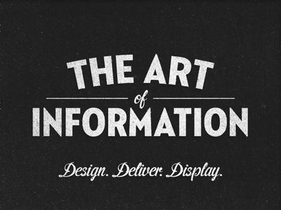 The Art of Information: Typefaces = Neutraface 2 Condensed Tilting and Cider (script)