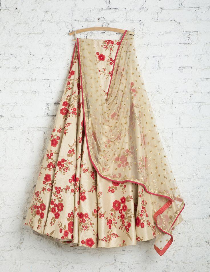 SwatiManish Lehengas SMF LEH 201 17 Vanilla floral lehenga with sequin dupatta and matching blouse