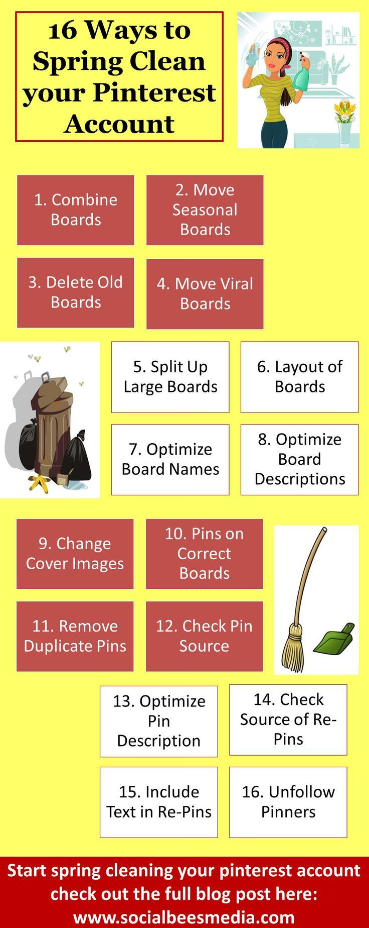 Spring Clean your Pinterest Account with these 16 tips, to get more followers and re-pins! http://socialbeesmedia.com/16-ways-clean-pinterest-account/