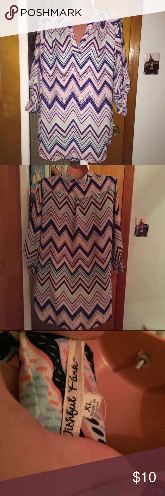Chevron Blouse Cute chevron Blouse with spring colors! Has a v neck and I wore it as a Tunic! Wishful Park Tops