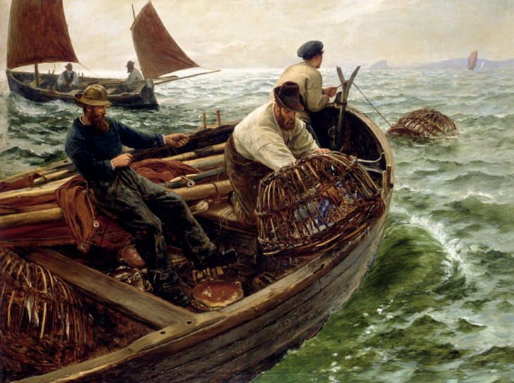 Charles Napier Hemy - Lands End Crabbers