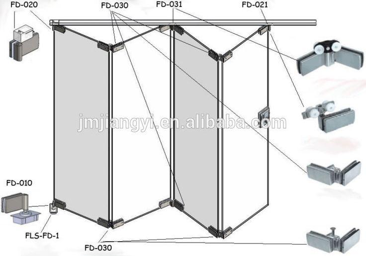 Vidro sem moldura interiior sistema porta sanfonada / vidro montagem