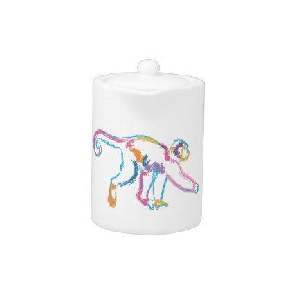 Rainbow Monkey Teapot - animal gift ideas animals and pets diy customize