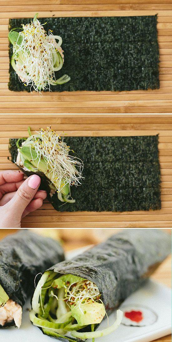 A Sushi Hand Roll That Anyone Can Do- Cucumber-Avocado Tuna Hand Rolls With Sriracha-Ginger Fayo