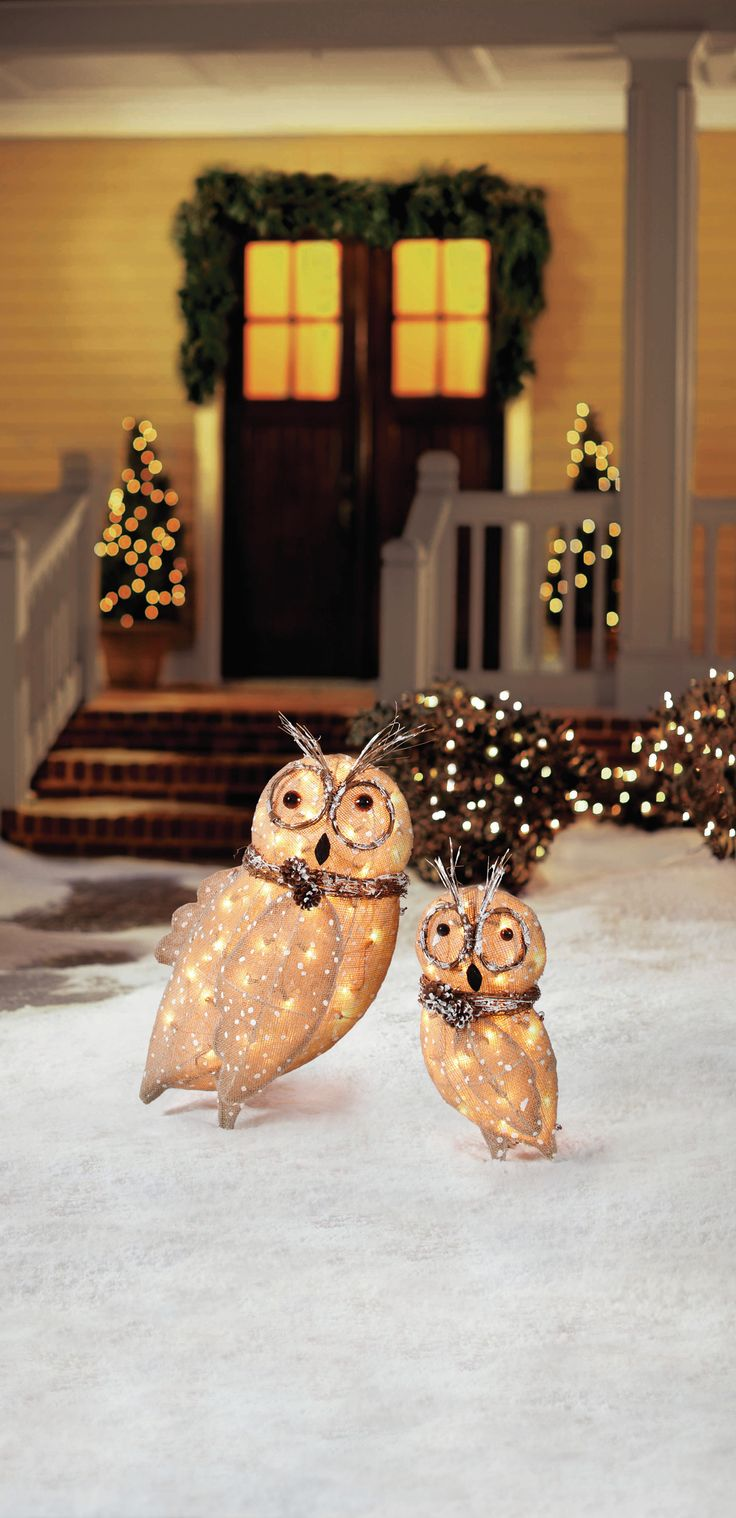 Home Accents Holiday Pre-Lit Burlap Owl Family (Set Of 2