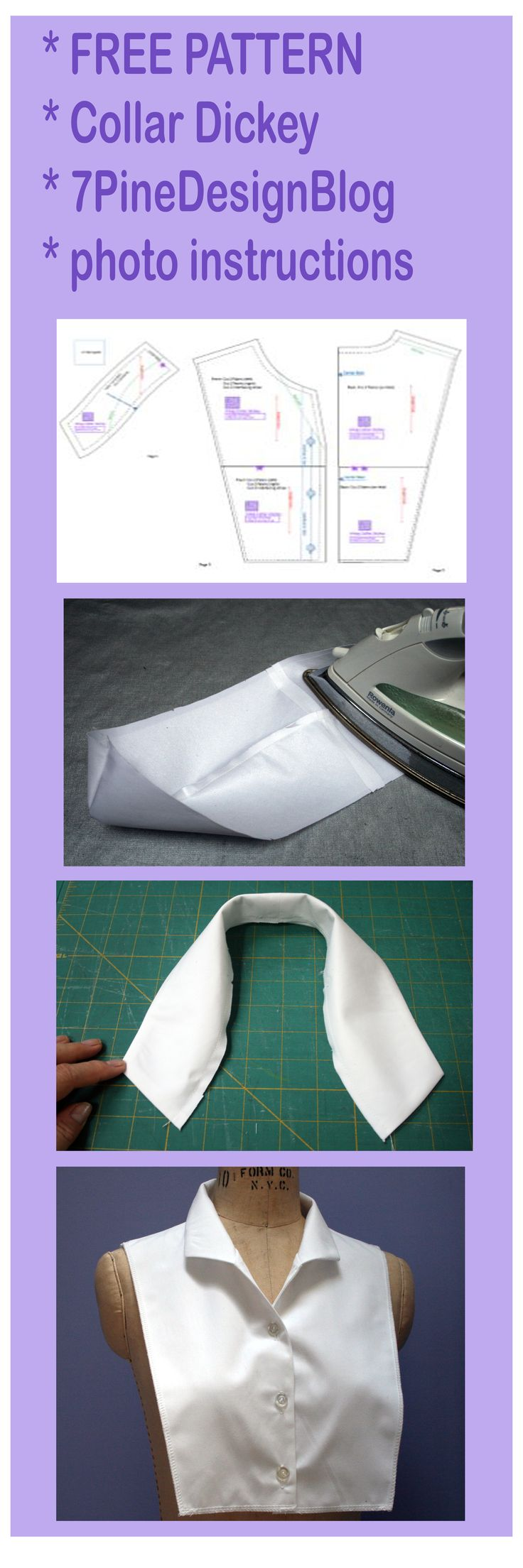 wing collar dickey pattern                                                                                                                                                                                 More