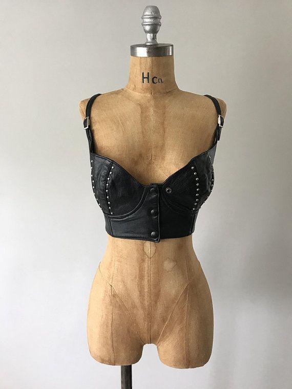 0dc4ee6ad9858 Baddest Top 1980s Vintage Studded Black Leather Buckle Strap
