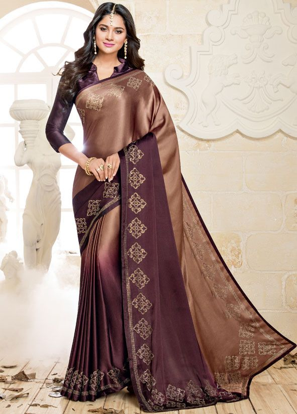 aa7bb40ca3faaa Copper Brown and Coffee Brown Satin Silk Saree