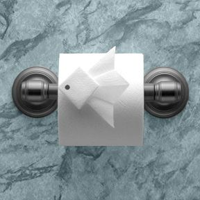 """Tropical Fish"" instructions in ""Toilet Paper Origami on a Roll: Decorative Folds and Flourishes for Over-the-Top Hospitality"" by Linda Wright ♦ http://www.amazon.com/dp/0980092337/"
