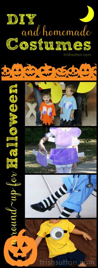 DIY & Homemade Costumes; A Round-Up for Halloween by TrishSutton.com. Minion, Pac-Mac, Paper Dolls, Princesses, Boy Costumes, the Hulk and more!