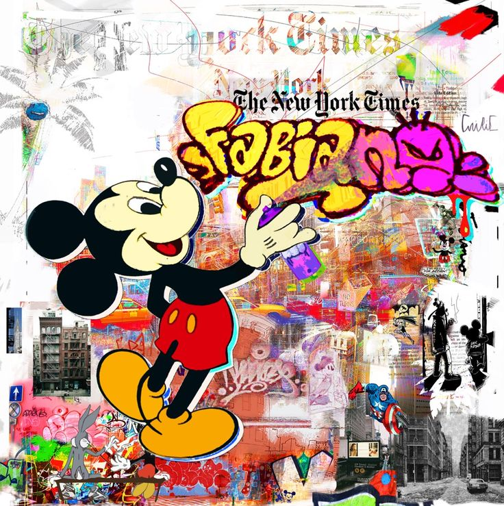 Downtown Spraying Time. (200x200cm). Nelson Fabiano's series of Disney figures, blended in the NYC street art aesthetics. In this series, Fabiano is paying his respect to the important cultural movement of street art, and reminiscence to his days as a graffiti artists, using the nostalgic figures that were a part of our childhood. #disney #art #mickeymouse #donaldduck #painting