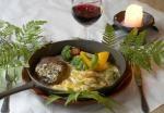 Traditional plate of Medieval Restaurant Piikatyttö, Holiday Resort Järvisydän. Rantasalmi, Finland.