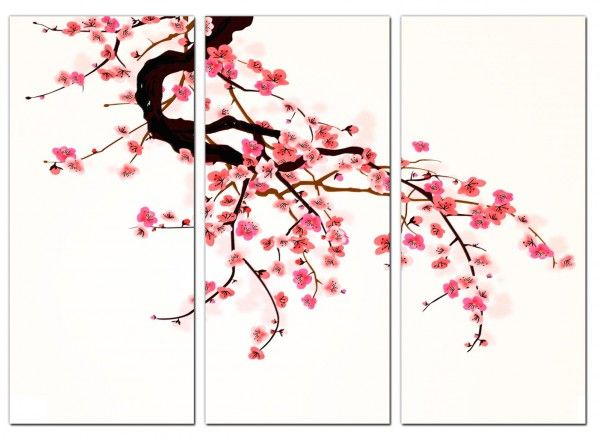 Cheap Cherry Blossom Canvas Prints 3 Panel For Your Living Room Cherry Blossom Art Cherry Blossom Pictures Cherry Blossom Bedroom