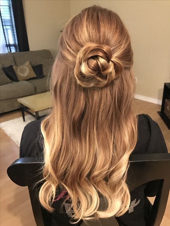 Rose Flower Hair Updo Half Up Half Down Hairstyle For Prom Bride Or Bridesmaid Formal Hair Loose Curls When Prom Hair Down Loose Curls Hairstyles Hair Styles