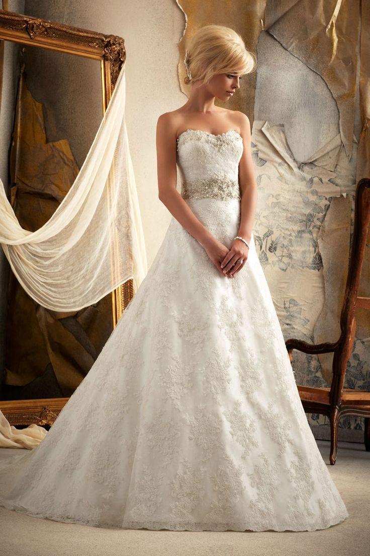 chapel train sweetheart natural waist wedding dress - Wegodress.com