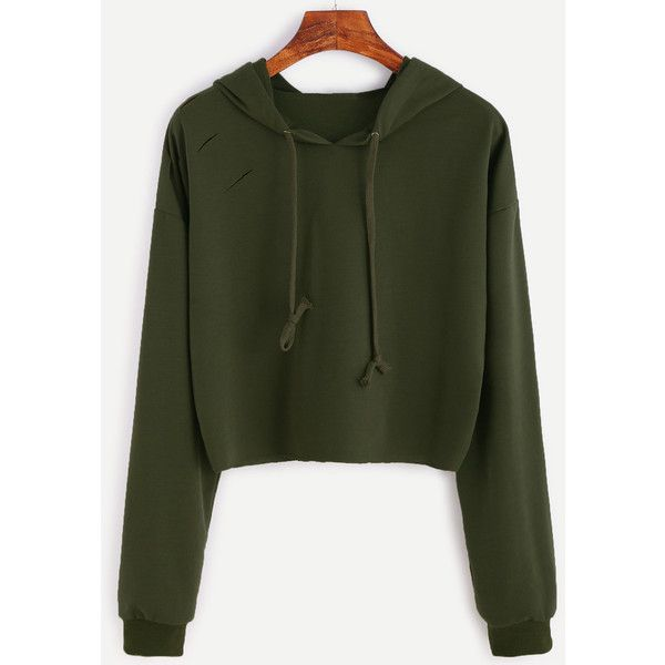 Army Green Drop Shoulder Ripped Hooded Crop Sweatshirt ($14) ❤ liked on Polyvore featuring tops, hoodies, sweatshirts, green, pullover sweatshirt, olive green hoodie, pullover hoodie, cropped pullover hoodie and pullover hoodie sweatshirt