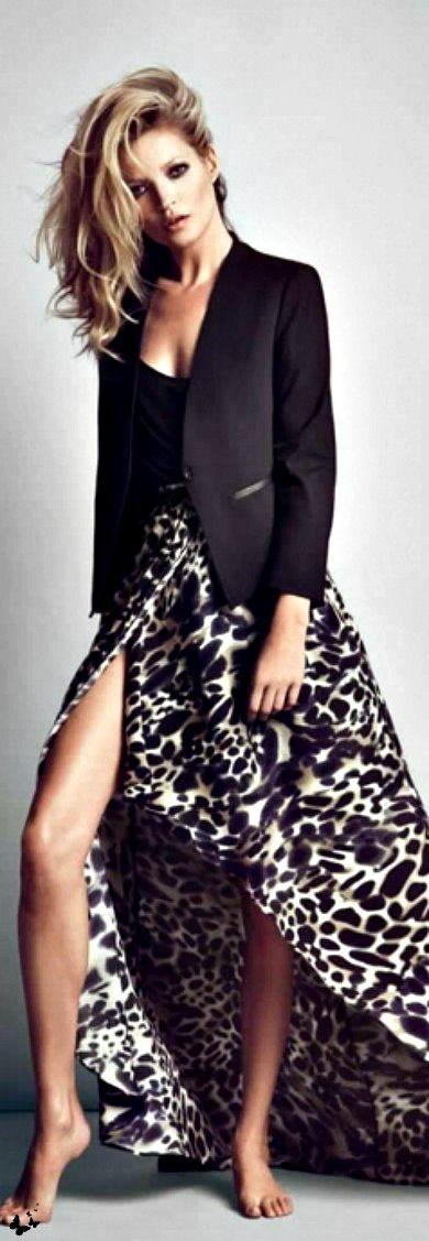 H  M // kate moss //dress // black blazer // casual chic // long dress // pattern // animal print outfit