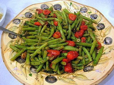 Green bean and roasted cherry tomato salad with a balsamic vinaigrette