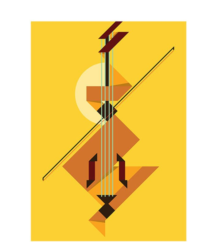 Double Bass by Marcus Marritt. Digital illustration.  Giclee print on 310GSM museum grade 100% cotton.  Available in A4, A3, A2 sizes.