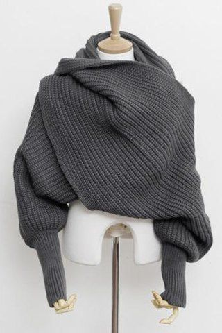 Chic Solid Color Sleeved Knitted Scarf For WomenScarves | RoseGal.com