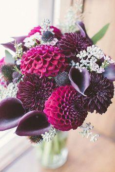 All Purple Wedding Bouquet // calla lillies, dahlias, autumn, wedding, bride, bridesmaids