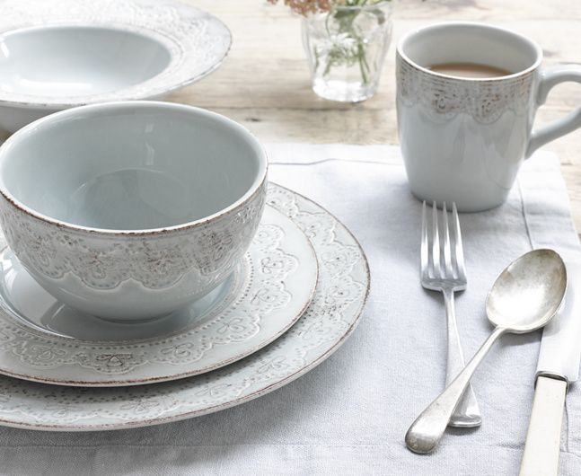 Our Floris ceramic kitchenware with it's beautiful French inspired border comes in mugs, plates, bowls and pasta bowls in sets of four. Lovely!
