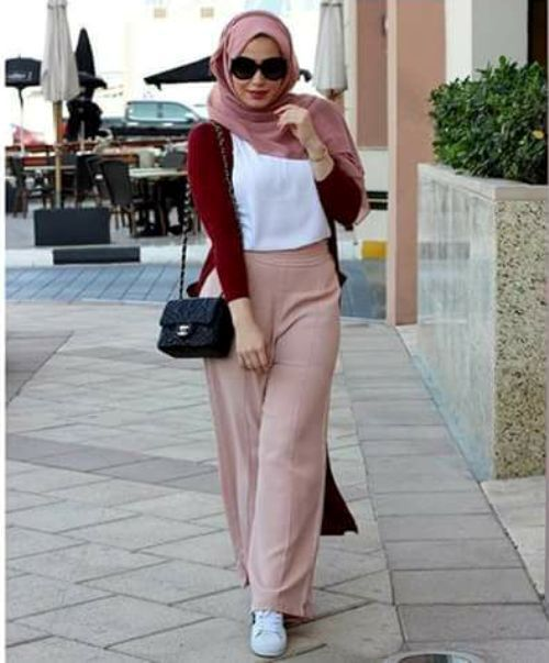 Pink palazzo pants hijab-Street fashion style – Just Trendy Girls