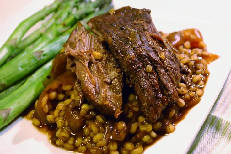 slow cooker Balsamic & Sweet Onion Pot Roast with Barley