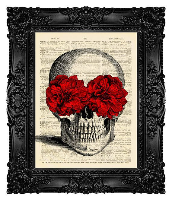Skull Art Print, Skull Dictionary Art Print, Skull Art,  Calavera Catrina, Dictionary Art Print on Vintage Upcycled Antique Book Page 27 on Etsy, $10.00