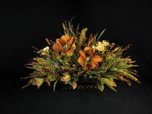 Old World Dining Table Centerpiece Floral Arrangement Rust Magnolias