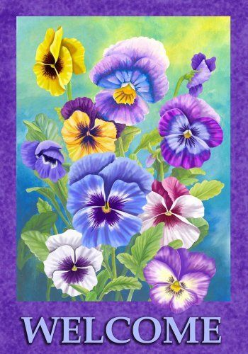 Beautiful Spring Summer Pansy Welcome Garden Flag By Custom Decor. Save 31  Off!.