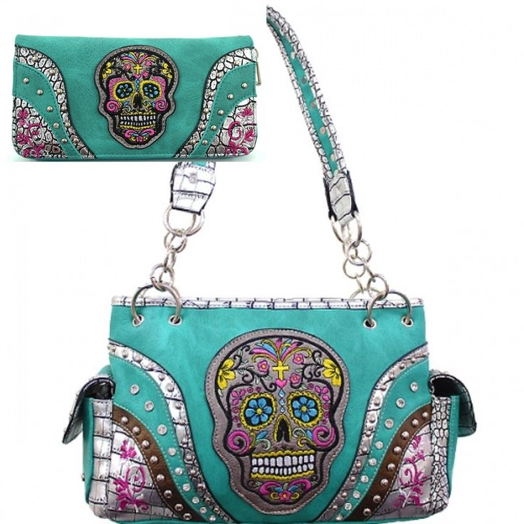 Turquoise Calacas Sugar Skull Concealed Carry Purse W Matching Wallet