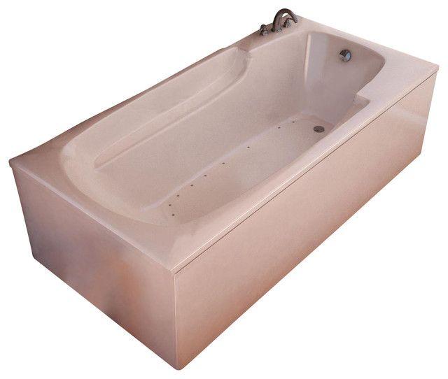 "Venzi Eros 60"" x 32"" Rectangular White Acrylic Air Jetted Bathtub, Right Drain (3260EAR)"