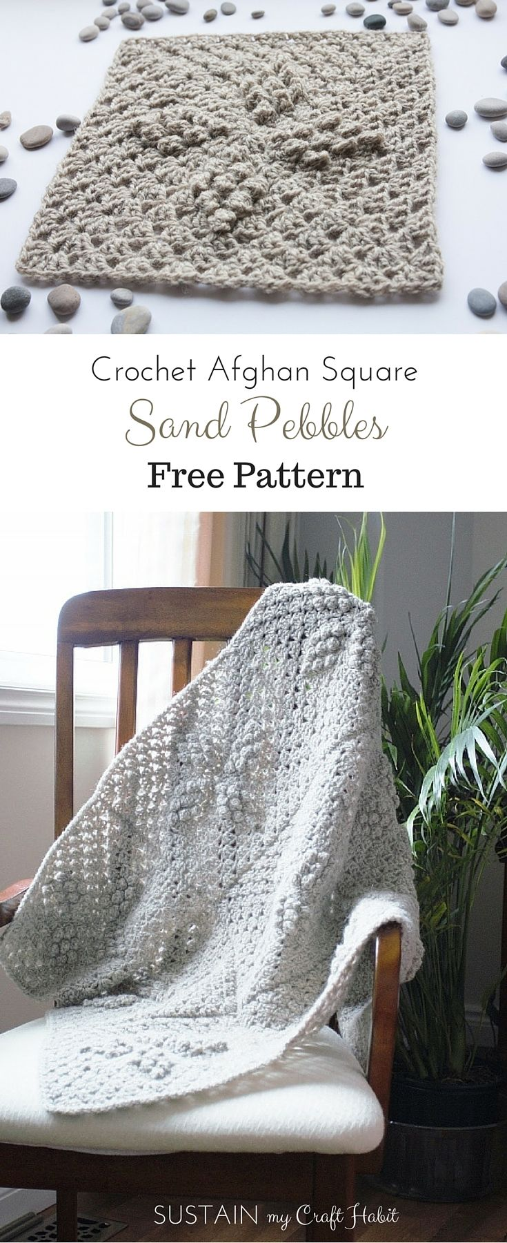 Make a beautiful wool afghan with this free crochet pattern for a sand pebbles diamond square design by SustainMyCraftHabit.