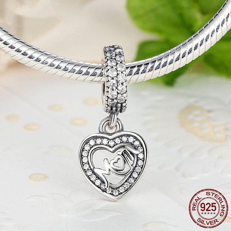Ciondolo a Cuore e scritta MOM Mamma e zirconi chiari 100% argento 925 adatta  misure Pandora charm pandora bead e braccialetto europeo s017 di OceanBijoux su Etsy