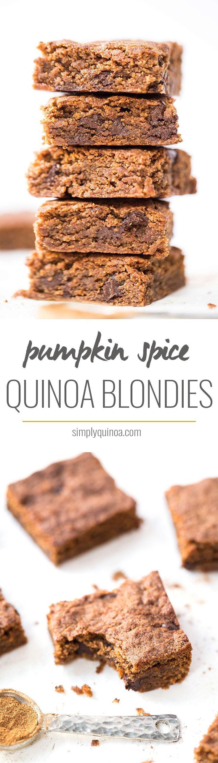Ooey-gooey Pumpkin Spice Quinoa Blondies with dark chocolate chips! They're the perfect fall dessert!