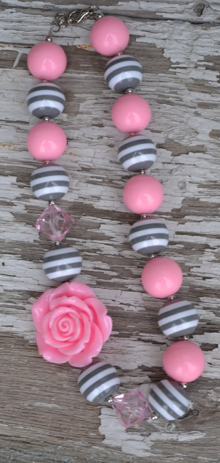 Girly girl glam Gray and Pink  gumball chunky bead necklace. $12.00, via Etsy.