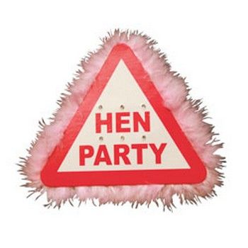 http://www.hensandbrides.com.au/item_1085/Flashing-Hens-Party-Badge.htm  Hen night flashing warning sign with pink marabou feathers. Great for table decoration or wearing as a brooch. Flashes with a bright red LED.  15cm  x15cm x15cm in size.   Price: $4.95