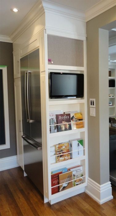 Kitchen Idea : cool set up for recipe books and maybe a command center. Don't really need a TV in mine with our family room right there.
