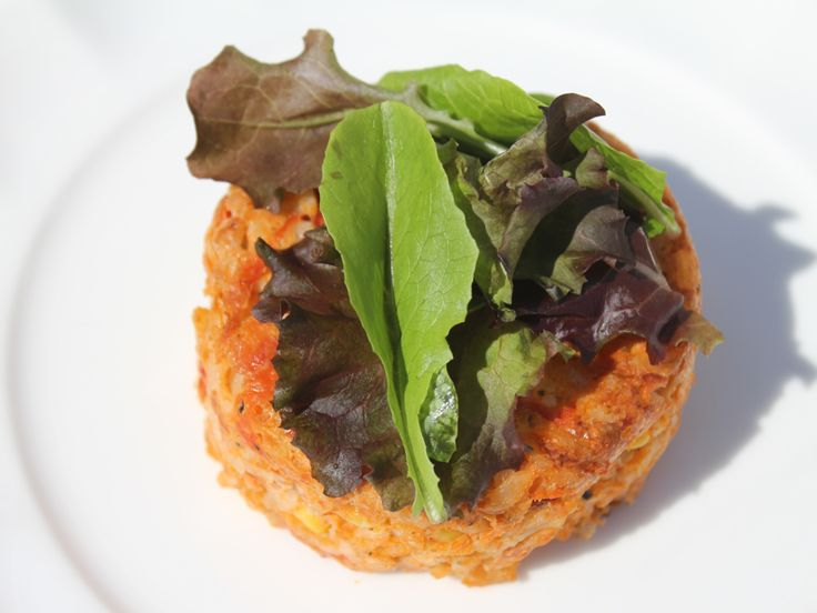 Risotto Cake New 2. Tomato, sweet basil and risotto cakes.