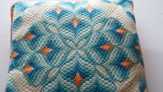 My absolute favorite! BARGELLO Pillow Square Teal Orange White Ombre by cormorantnest