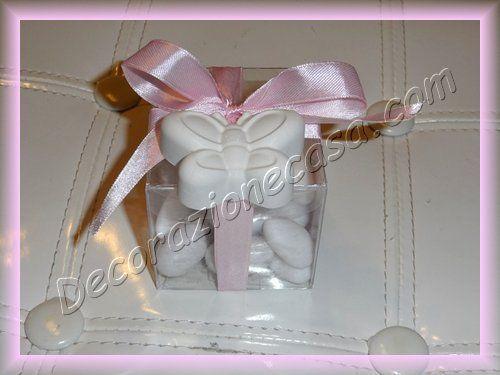 Scatolina porta confetti con bomboniera in gesso profumato